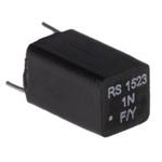 RS PRO Polystyrene Capacitor 1nF 63V dc ±1% Tolerance Through Hole 7.5mm diameter