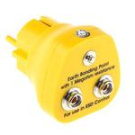 RS PRO ESD Earth Bonding Plug With 10mm Stud x 2 4mm Socket
