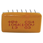 Cornell-Dubilier Multilayer Organic Capacitor MLOC Polymer 10μF 100V dc ±10% Gull Wing, Radial, Through Hole Mount