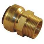 Pegler Yorkshire Straight Brass Push Fit Fitting 15mm 1/2 in R Male
