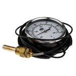 RS PRO Fahrenheit/Centigrade Dial Remote Mounting, Surface Mounting Dry Temperature Gauge, Accuracy Class 2, Suitable