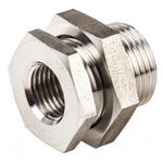Legris Stainless Steel Hexagon Straight Bulkhead Adapter 1/4in G(P) Female