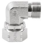 Parker Steel Zinc Plated Hydraulic Elbow Threaded Adapter, 16C6MK4S, G 1 Male G 1 Female