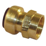 Pegler Yorkshire Straight Brass Push Fit Fitting 15mm 1/2 in G Female