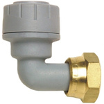 Polyplumb Push Fit Fitting Brass 90° Tap Connector, 15mm od