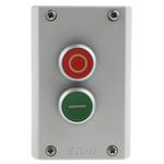 Eaton Momentary Enclosed Push Button - 2NO/2NC, Plastic, 2 Cutouts, Red/Green, O/I, IP67