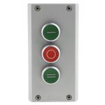 Eaton Momentary Enclosed Push Button - 3NO/3NC, Plastic, 3 Cutouts, Green/Red/Green, I/O/II, IP69K