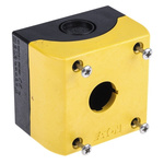 Eaton Grey/Yellow Plastic M22 Push Button Enclosure - 1 Hole 22mm Diameter