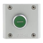 Eaton Momentary Enclosed Push Button - NO/NC, Plastic, 1 Cutouts, Green, I, IP69K