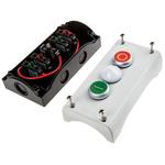 Eaton Momentary Enclosed Push Button - NO/NC, Plastic, 3 Cutouts, Red/White/Green, O/lamp/I, IP69K