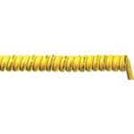 1m 3 Core Coiled Cable 1.5 mm² CSA Polyurethane PUR Sheath Yellow, 8.9mm OD