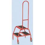 RS PRO 2 Tread Steel Steps 0.39m Platform Height, Red