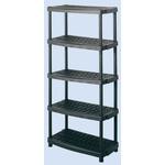 RS PRO Black 5 Shelf PP Shelving System, 1887mm x 930mm x 453mm, 70kg Load