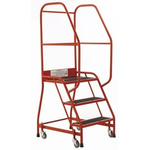 RS PRO 3 Tread Rubber Steps 0.69m Platform Height, Red