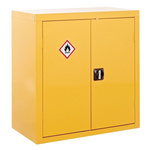RS PRO Yellow Lockable 2 Doors Hazardous Substance Cabinet, 900mm x 900mm x 460mm