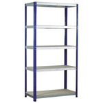 RS PRO 5 Shelf Chipboard, Galvanised Steel Shelving System, 1800mm x 900mm x 450mm, 265kg Load