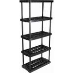 RS PRO Black 5 Shelf PP Shelving Unit, 1760mm x 790mm x 390mm, 40kg Load