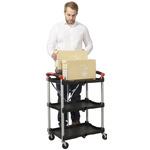 RS PRO 3 Shelf Aluminium Folding Trolley, 670 x 430mm, 8kg Load