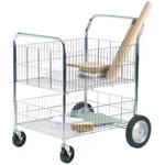 RS PRO 2 Shelf Chrome Plated Steel Adjustable Shelf Trolley, 840 x 650mm, 120kg Load