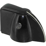 Ohmite Pointer Knob, Pointer Knob Type, 38.1mm Knob Diameter, Black, 6.35mm Shaft, For Use With 6.35mm Shafts