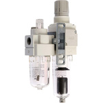 SMC G 1/4 Filter Regulator Lubricator, Automatic Drain, 5μm Filtration Size