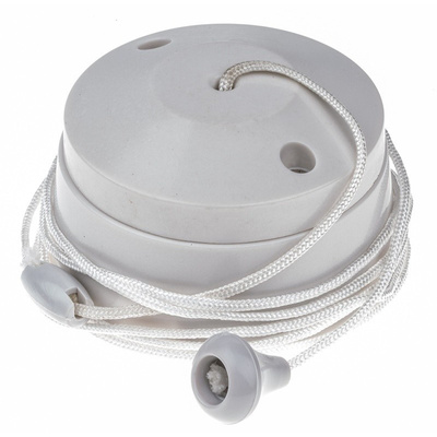2 Way Pull Cord Switch, 1.5m, 250V ac, 6A for Fluorescent Lamp