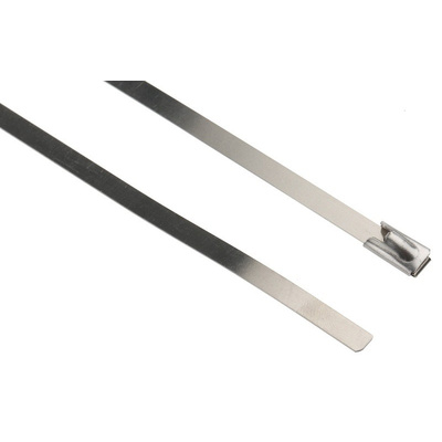 RS PRO Steel Cable Tie Stainless Steel Roller Ball, 360mm x 4.6 mm