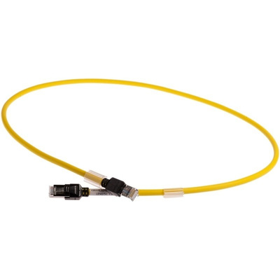 Omron FTP, STP Cat6a Cable 1m, Yellow, Male RJ45/Male RJ45