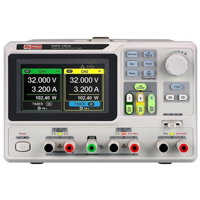 RS PRO Bench Power Supply, , 220W, 3 Output , , 2 x 0 → 32 V, 2.5 → 5 V, 3.2A With RS Calibration