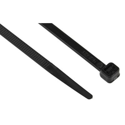 RS PRO Black Cable Tie Nylon, 300mm x 4.8 mm