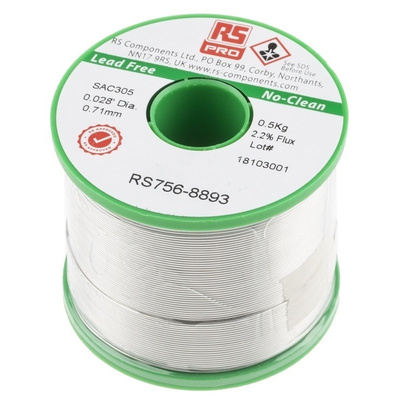 RS PRO 0.71mm Wire Lead Free Solder, +217°C Melting Point