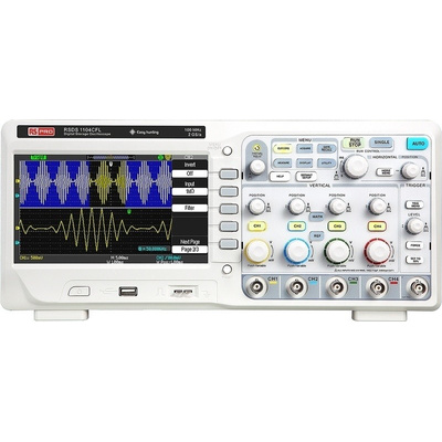 RS PRO RSDS1104CFL Bench Digital Storage Oscilloscope, 100MHz, 4 Channels With RS Calibration