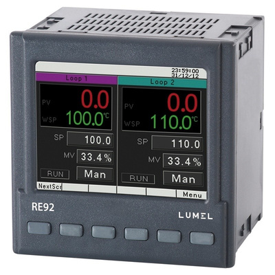 Lumel RE92 Panel Mount PID Temperature Controller, 96 x 96mm, 3 Output Analogue, Binary, 85 → 253 V ac/dc Supply