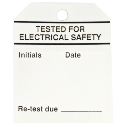 RS PRO Pre-Printed Tie Label-Tested For Electrical Safety-. Quantity: 50