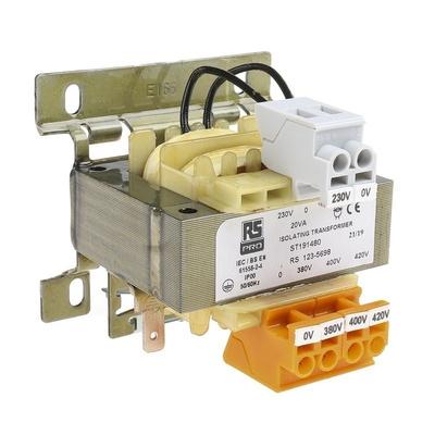 RS PRO 20VA Isolation Transformer, 380 V ac, 400 V ac, 420 V ac Primary, 230V ac Secondary