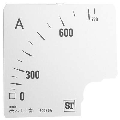 Sifam Tinsley Analogue Ammeter Scale, 600A, for use with 96 x 96 Analogue Panel Ammeter