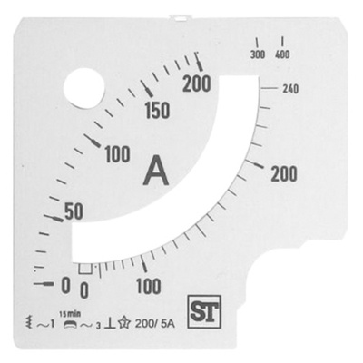 Sifam Tinsley Analogue Ammeter Scale, 240A, for use with 96 x 96 Analogue Panel Ammeter
