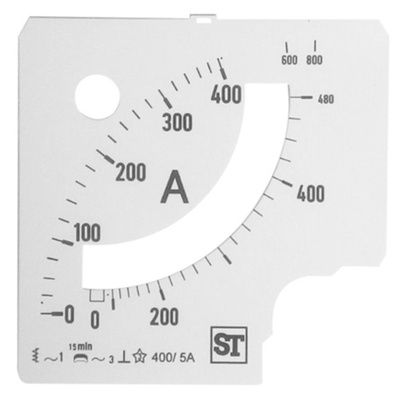 Sifam Tinsley Analogue Ammeter Scale, 480A, for use with 96 x 96 Analogue Panel Ammeter