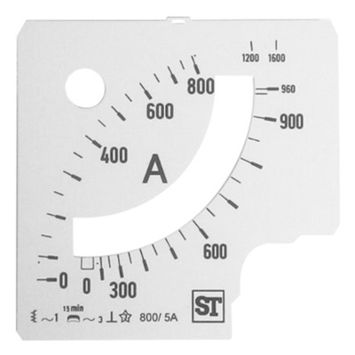 Sifam Tinsley Analogue Ammeter Scale, 960A, for use with 96 x 96 Analogue Panel Ammeter