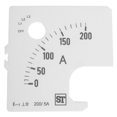 Sifam Tinsley Analogue Ammeter Scale, 200A, for use with 72 x 72 Analogue Panel Ammeter