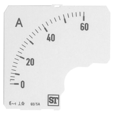 Sifam Tinsley Analogue Ammeter Scale, 60A, for use with 72 x 72 Analogue Panel Ammeter