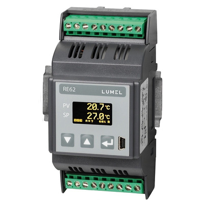 Lumel RE62 DIN Rail PID Temperature Controller, 53 x 100mm 3 Input, 1 Output Current, 20  60 V dc Supply Voltage