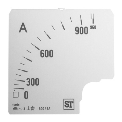 Sifam Tinsley Analogue Ammeter Scale, 800A, for use with 96 x 96 Analogue Panel Ammeter