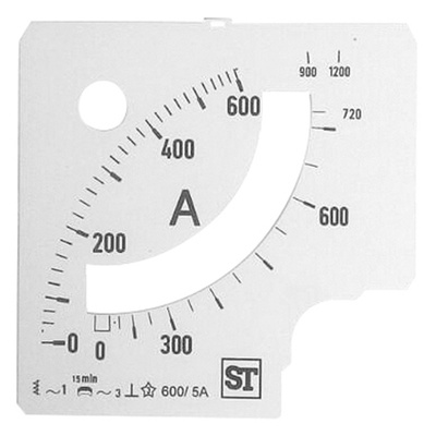 Sifam Tinsley Analogue Ammeter Scale, 720A, for use with 96 x 96 Analogue Panel Ammeter
