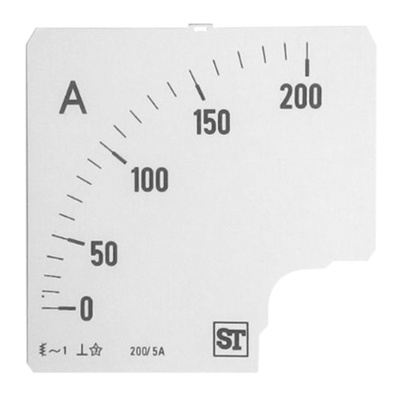 Sifam Tinsley Analogue Ammeter Scale, 200A, for use with 96 x 96 Analogue Panel Ammeter