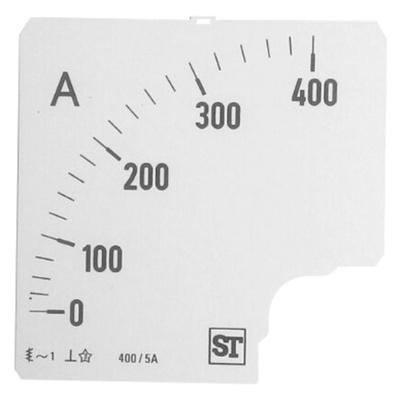 Sifam Tinsley Analogue Ammeter Scale, 400A, for use with 96 x 96 Analogue Panel Ammeter