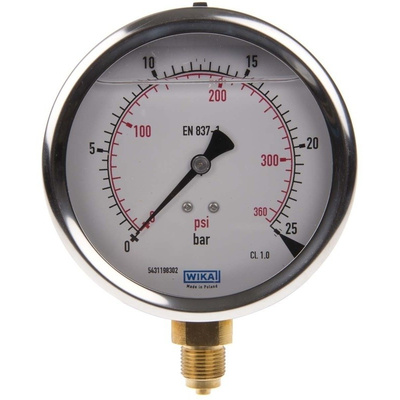 WIKA 7075597 Analogue Positive Pressure Gauge Bottom Entry 25bar, Connection Size G 3/8