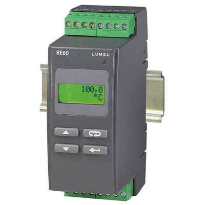 Lumel RE60 DIN Rail PID Temperature Controller, 45 x 120mm 1 Input, 3 Output Alarm, Relay, 230 V ac Supply Voltage