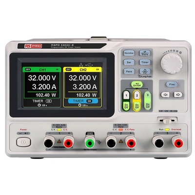 RS PRO Bench Power Supply, , 220W, 3 Output , , 2 x 0 → 32 V, 2.5 → 5 V, 3.2A With UKAS Calibration