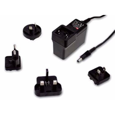 Mean Well, 18W Plug In Power Supply 48V dc, 380mA, 1 Output Switched Mode Power Supply, Australia, European Plug, UK, US